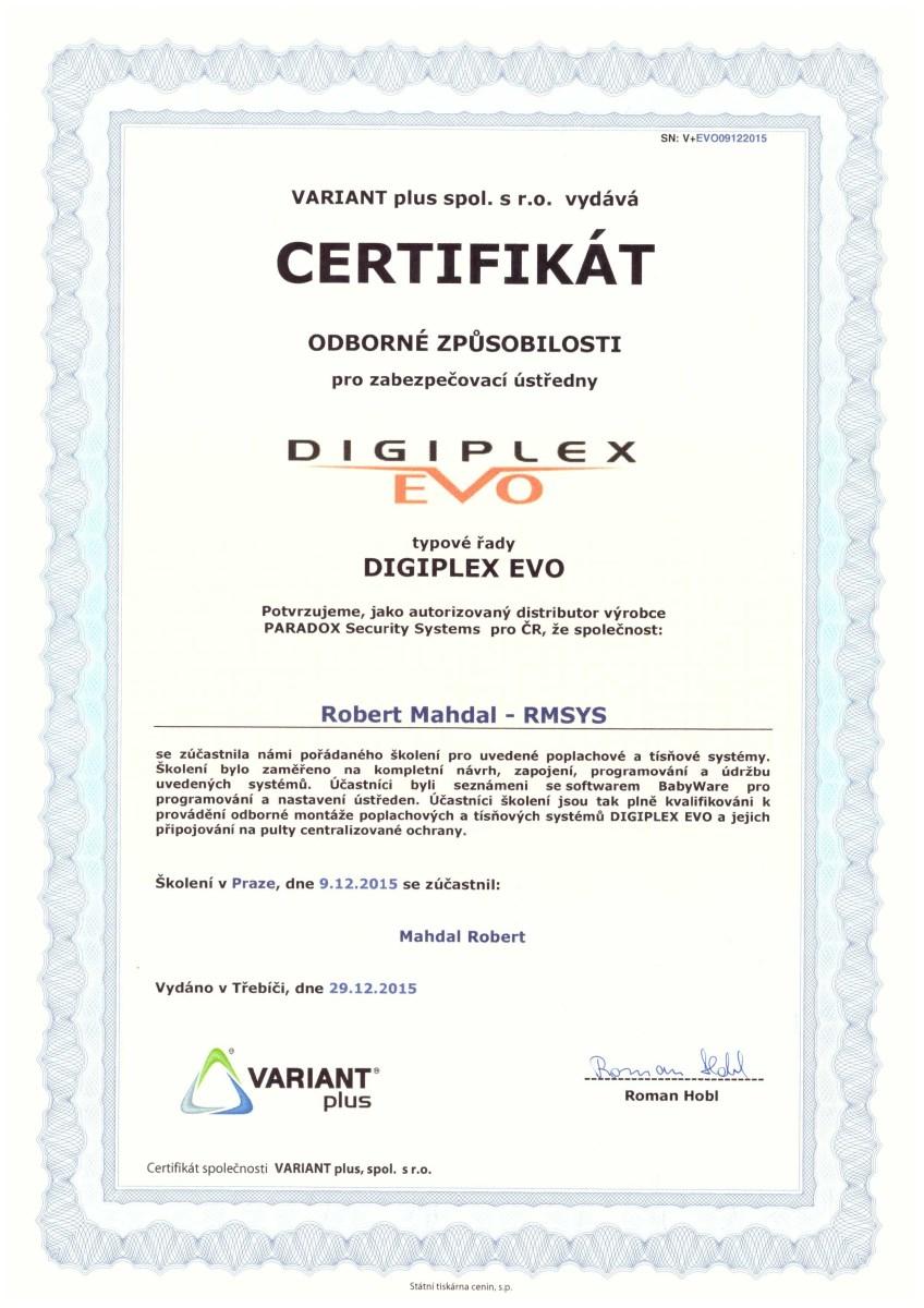 certifikát Digiples