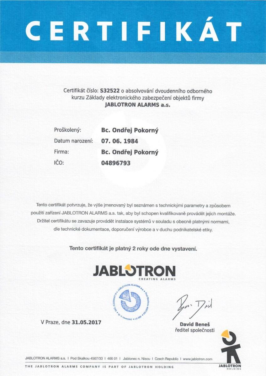 Certifikát pro Ondřej Pokorný