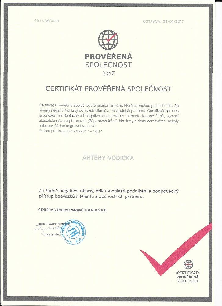 certifikát prověřená firma