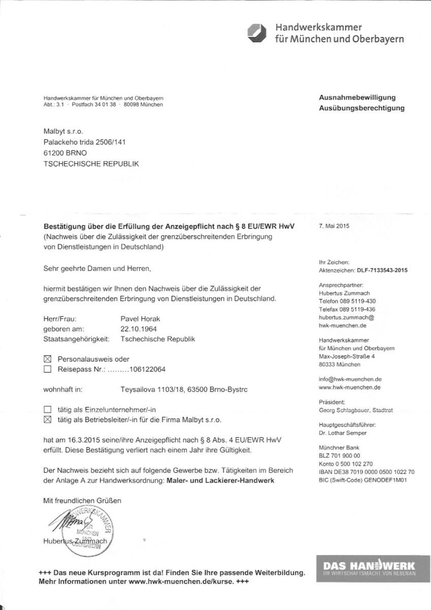 certifikát 2015