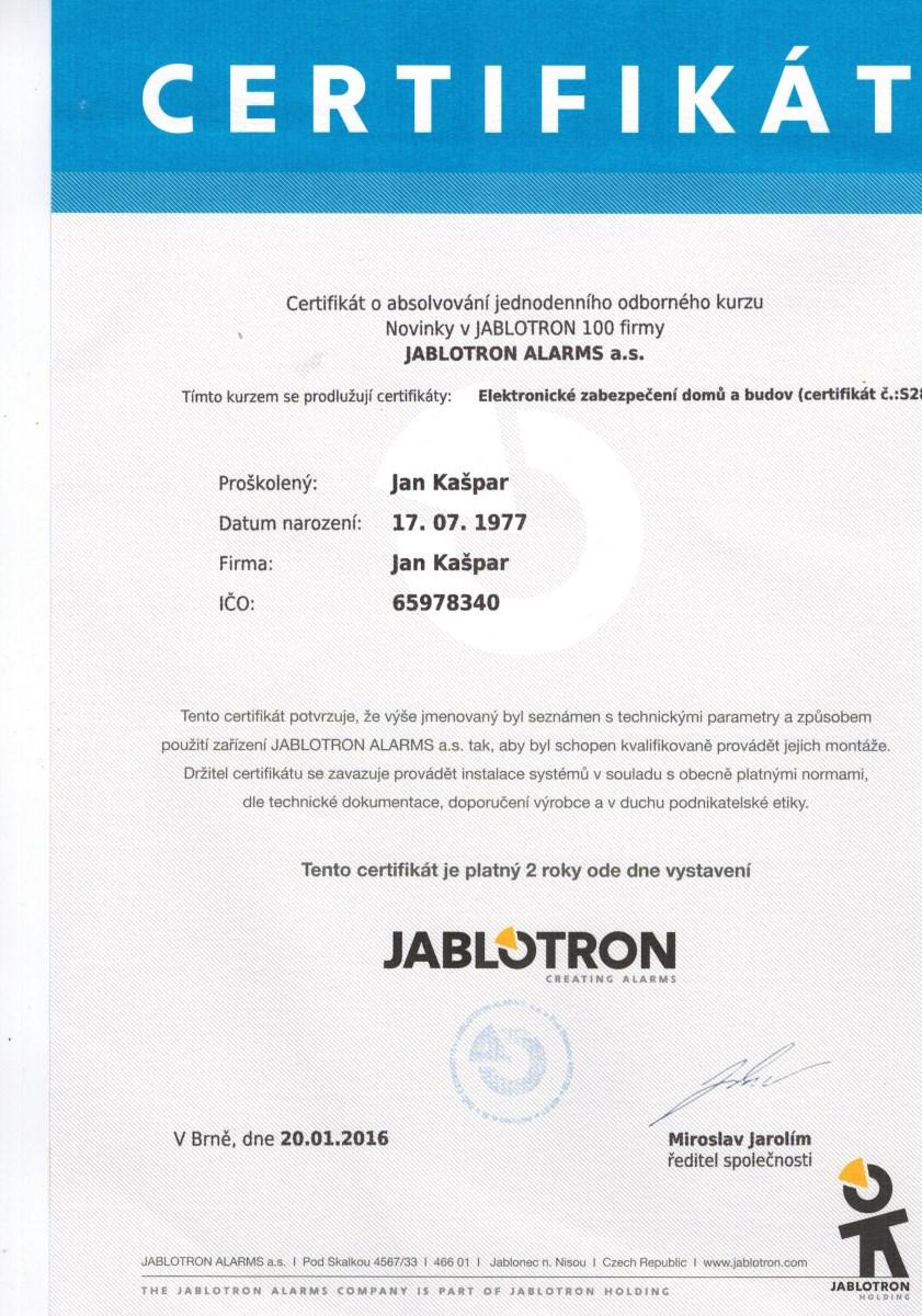 Jablotron certifikát pro Jan kašpar