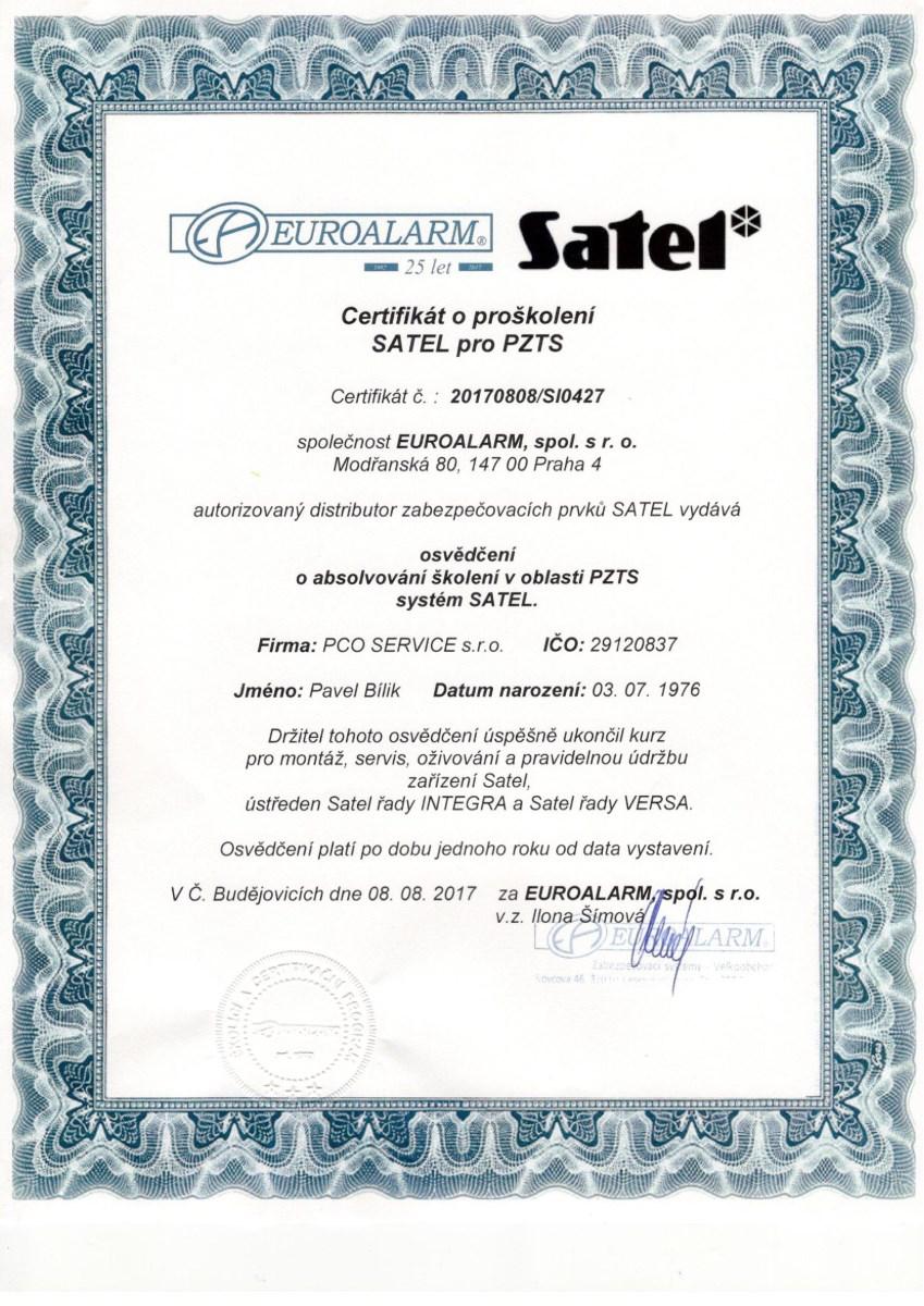 certifikát Satel