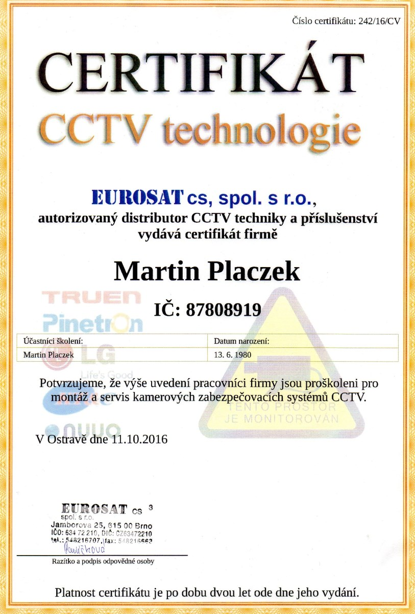 certifikát CCTV