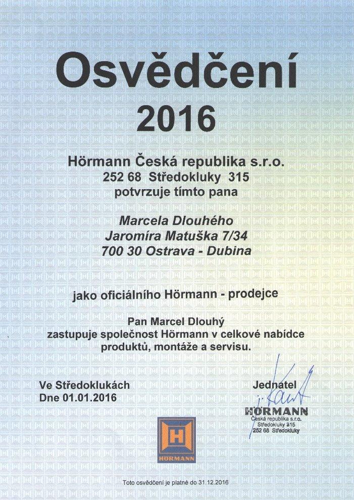 Osvědčení 2016 Hörmann