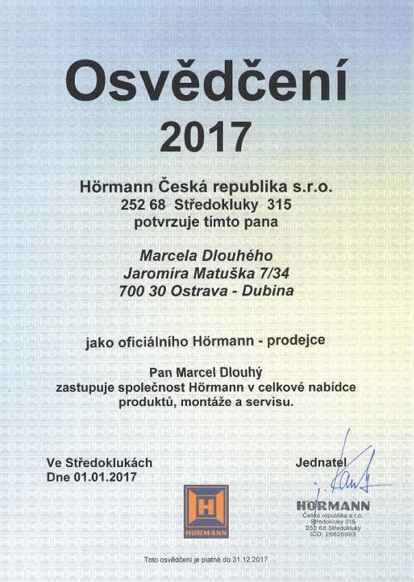 Osvědčení vrata Ostrava, Hörmann 2017