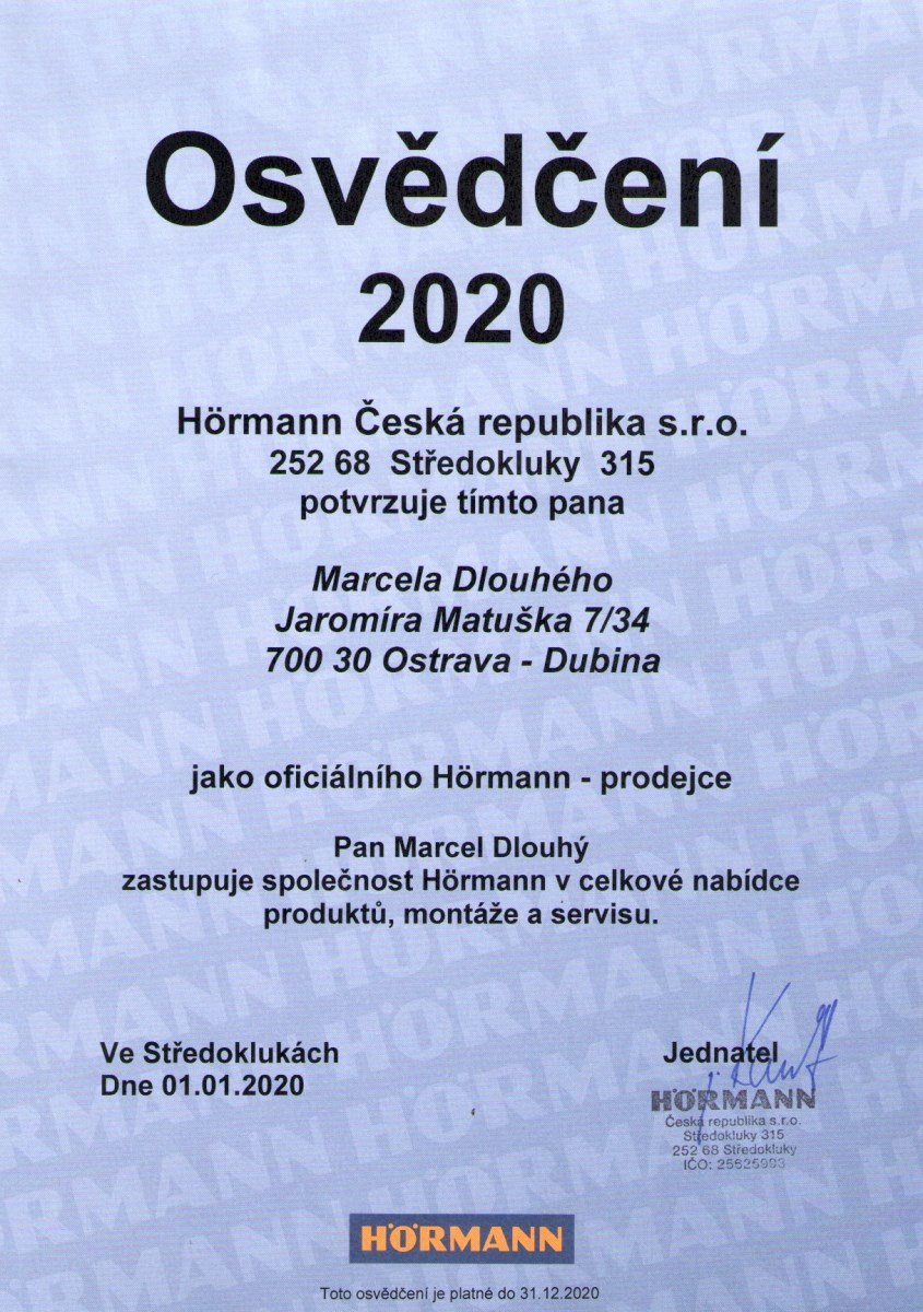 Osvědčení vrata Hörmann
