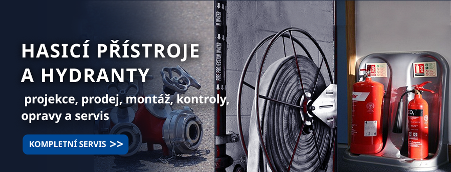 Hasící přístroje a hydranty. Projekce, montáž, prodej, servis.