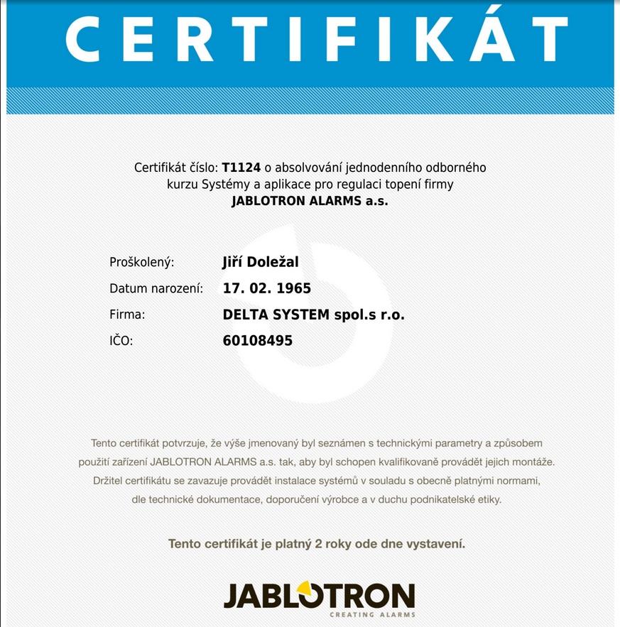 jablotron certifikát topení