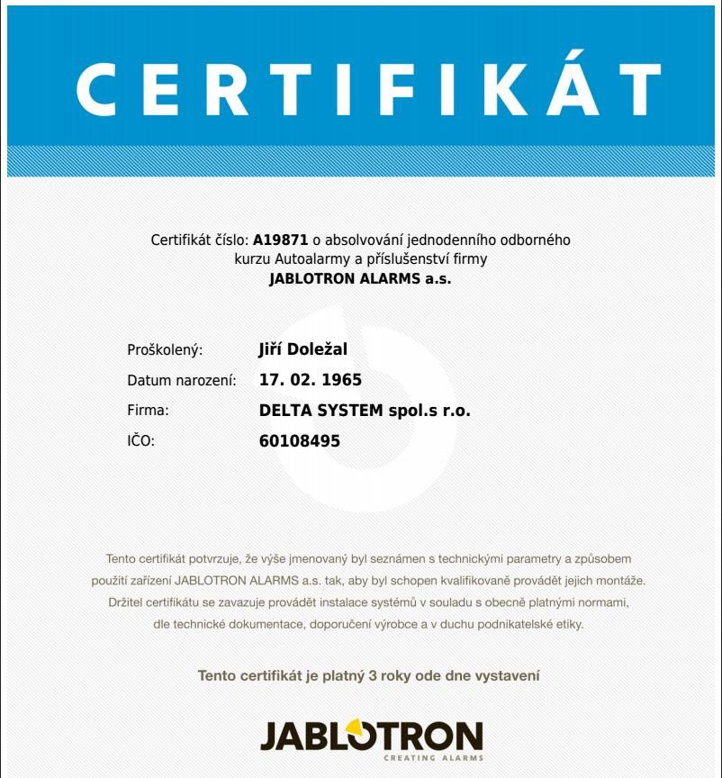 jablotron certifikát autosortiment