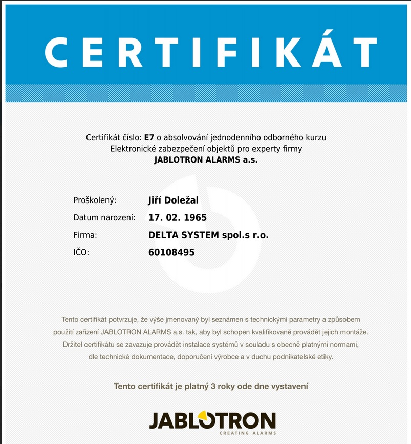 jablotron certifikát expert
