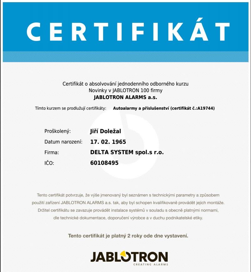 certifikát jablotron novinky