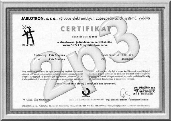 Certifikáty Petr Štarman