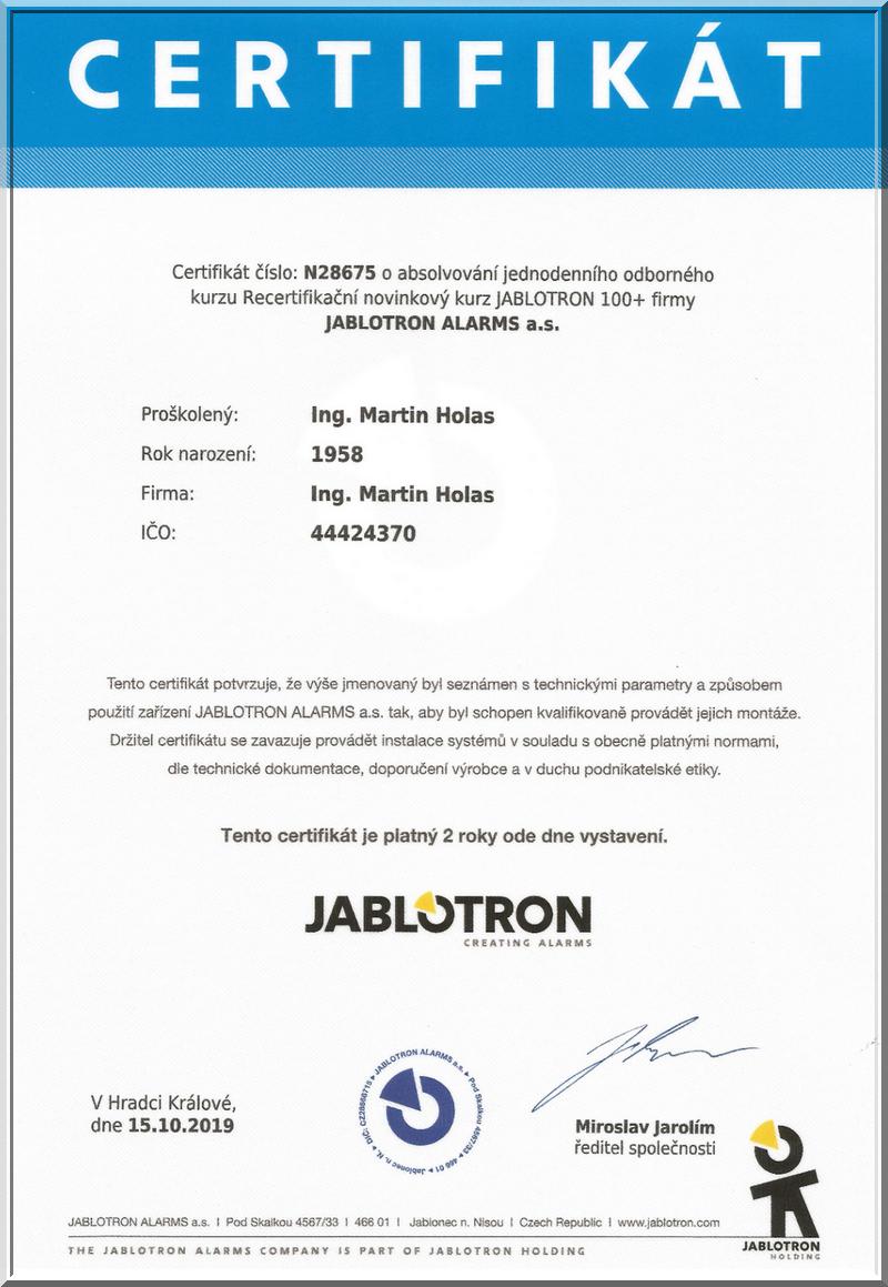 Certifikát Ing.Martin Holas