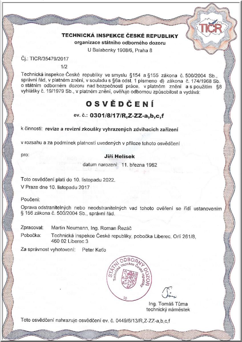 certifikáty Jiří Helísek