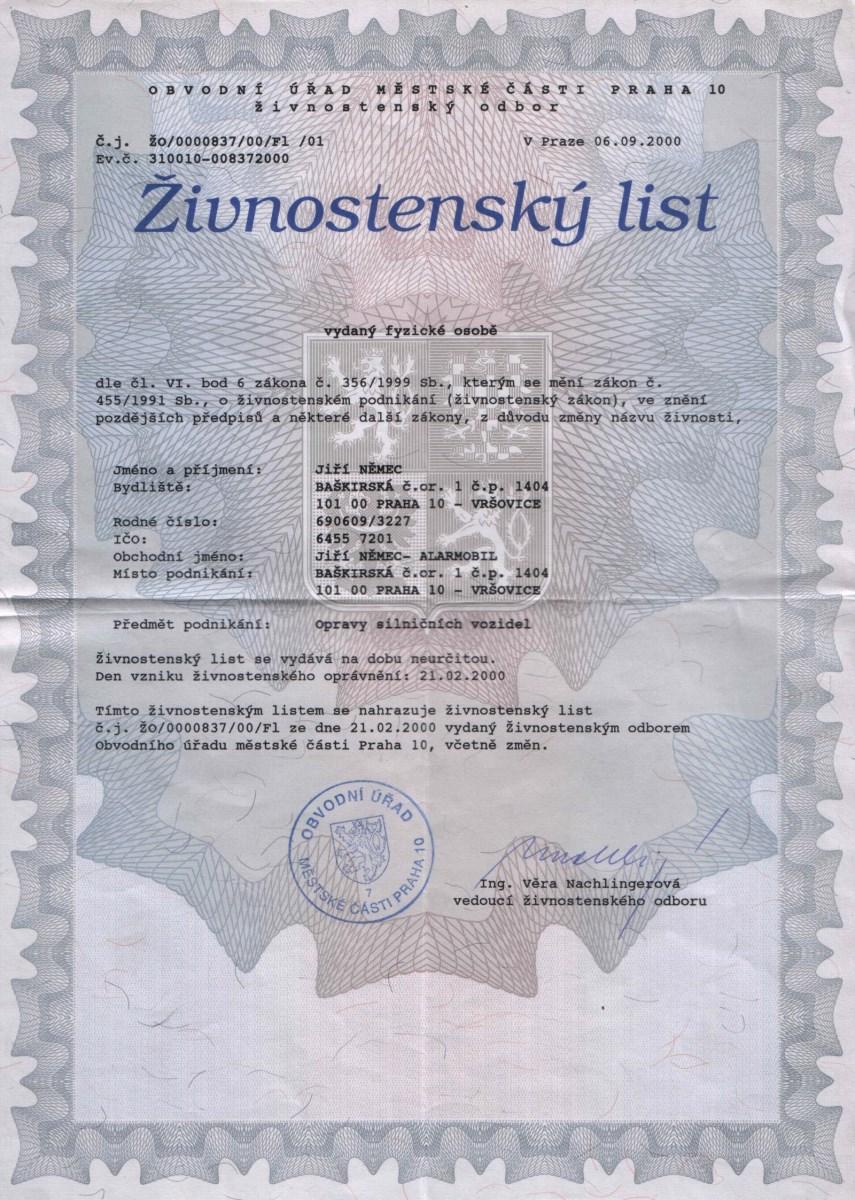 Certifikáty alarmobil