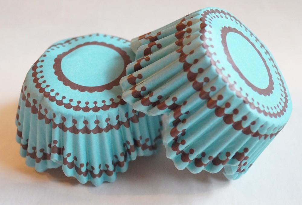 Lístkové papírové košíčky modroornamentální 48ks