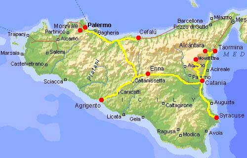 Mapa Turisticka Mapa Sicilie