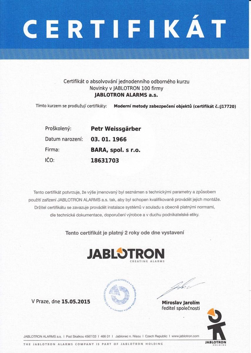 Certifikáty Jablotron - Müller Jiří