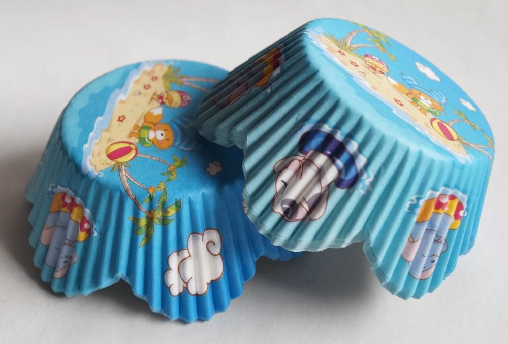 Lístkové papírové košíčky medvídek 48ks