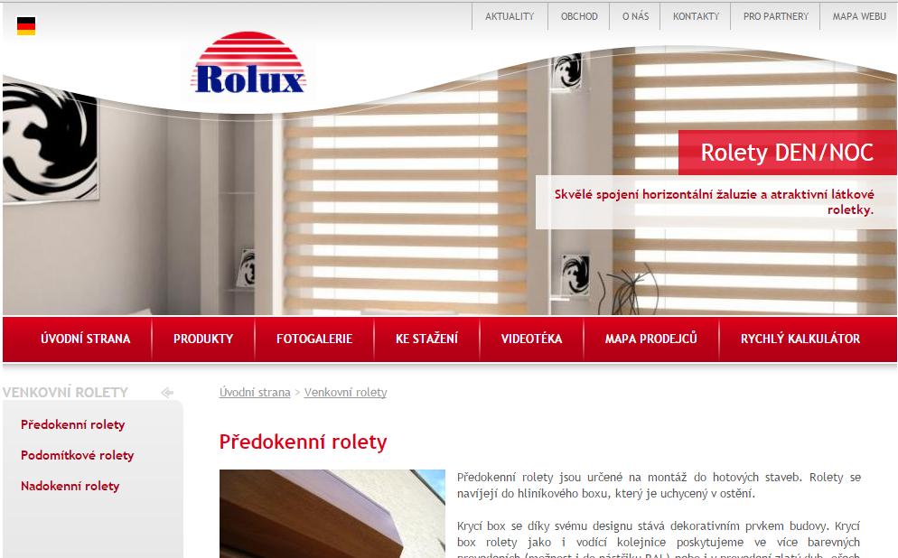 předokenní rolety Rolux