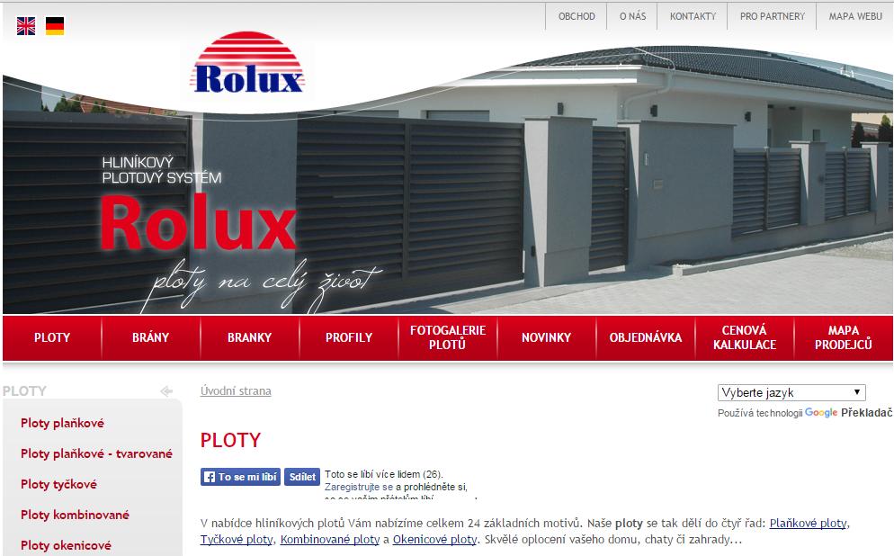 hliníkové ploty Rolux