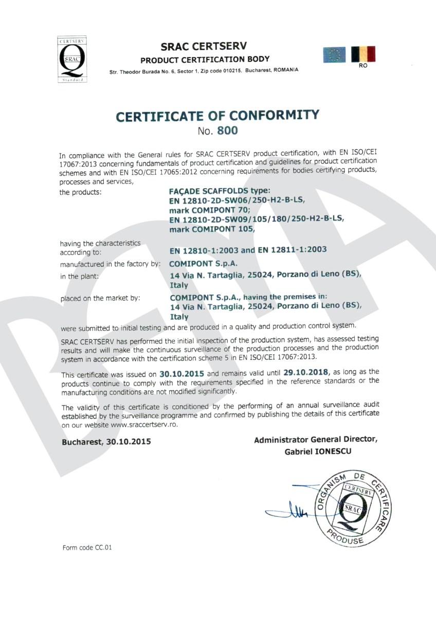 certifikát lešení