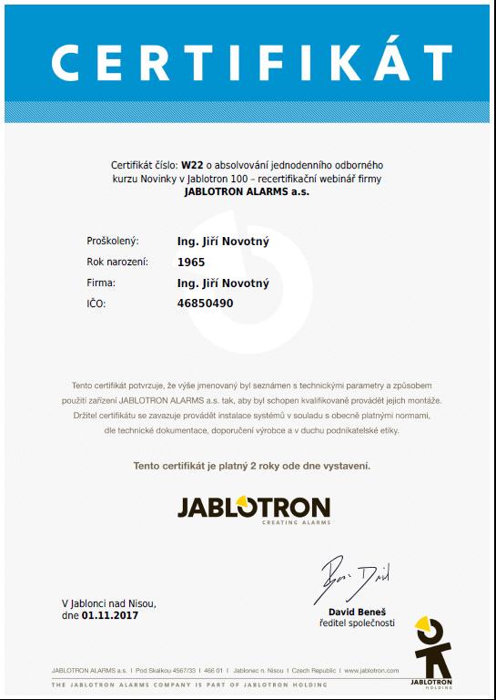 certifikát jablotron