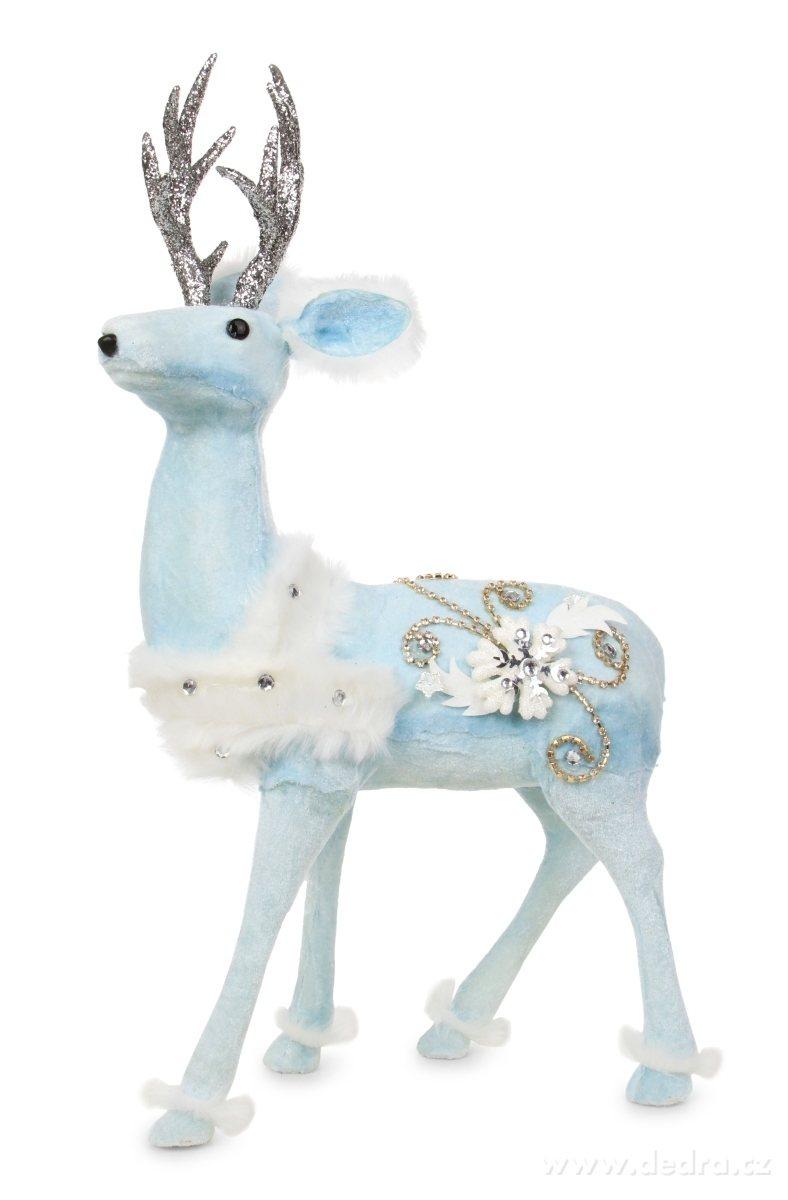 modrobílé dekorace jelen