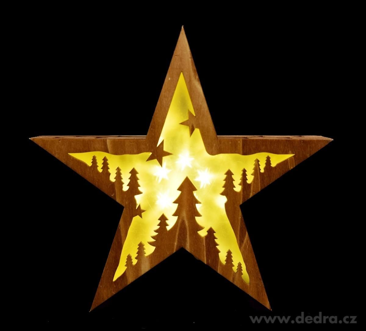 vánoční dřevěná hvězda led