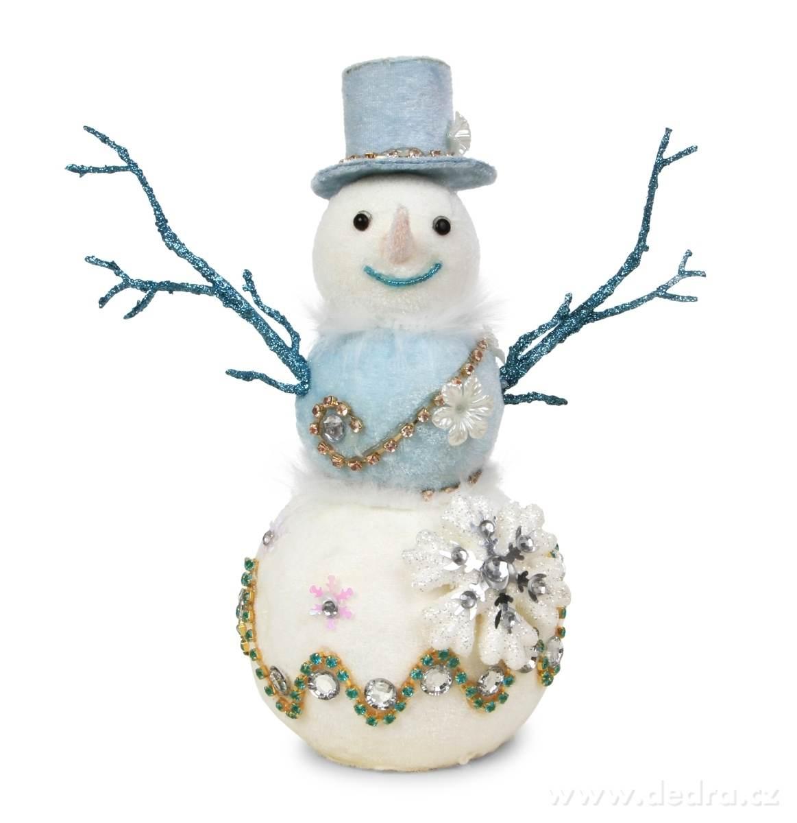 modrobílé dekorace sněhulák