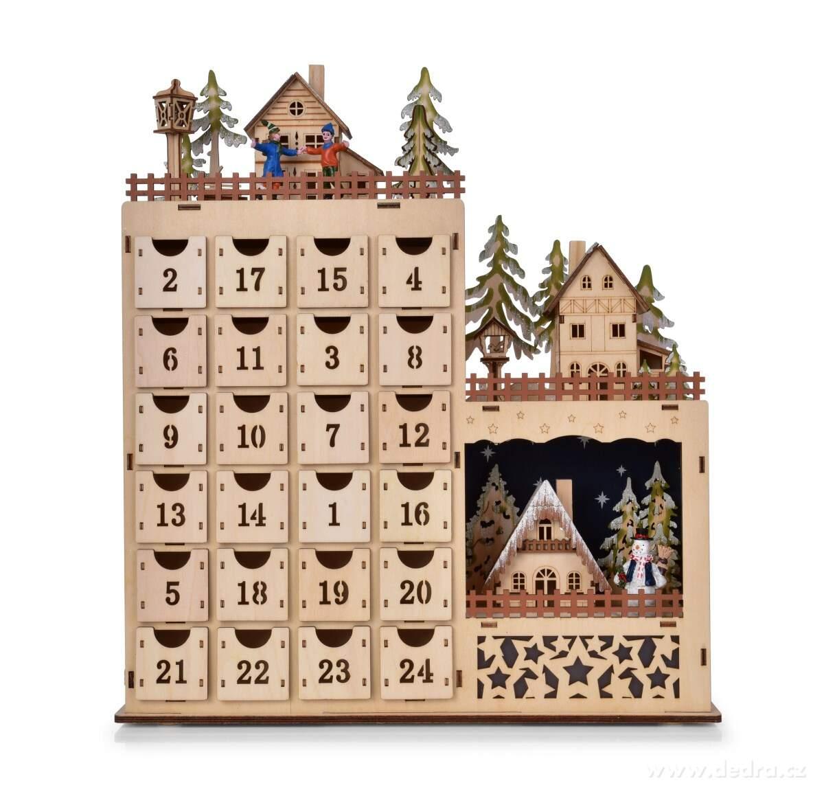 adventní kalendář dřevo